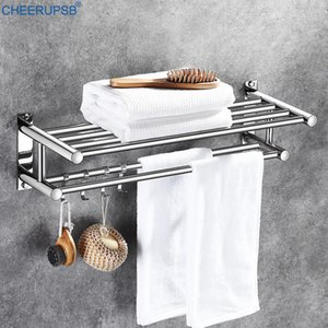 Bathroom Towel Holder Hotel Bath Towels Shelf Toilet Stainless Steel Dual Layers Adhesive Rail Wall Hangers with Mobile Hook