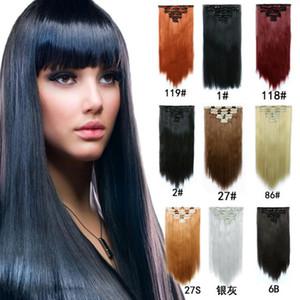 7pcs / 130g conjunto de clip en extensiones de cabello sintético piezas de pelo recto 22inch clip en extensiones de cabello largo negro mujeres