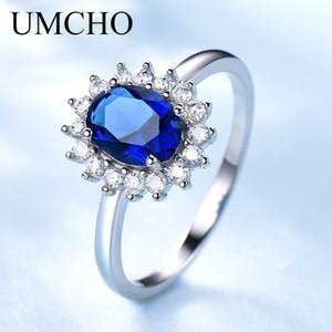Umcho Luxury Blue Sapphire Princess Diana Anelli per le donne Genuine 925 Sterling Silver Romantico Anello di fidanzamento Gioielli da sposa Y19051803