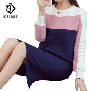 Donne Kintting Tops + Gonne Tute due parti ha regolato 2018 della moda di New Slim Patchwork Maglione Skirt Set Abbigliamento Donna S7D322L