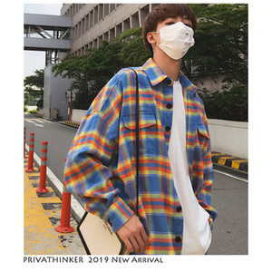 Men Flannel Oversized Plaid Shirts Long Sleeve 2019 Mens Harajuku Streetwear Casual Shirt Couple Korean Clothing
