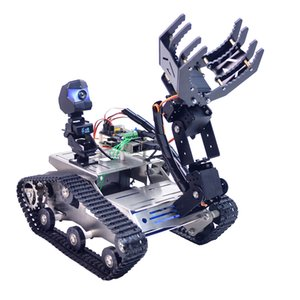 Programmable TH WiFi Bluetooth FPV Tank Robot Car Kit with Arm for Arduino MEGA - Line Patrol Obstacle Avoidance Version Large