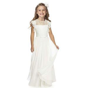 Fashion Girl Cotton Prinzessin Dress der Sommer-Kinder-Hochzeit Kleidung Mädchen Chiffon All White Beach Kleid beste Partei-Kind-Kleidung