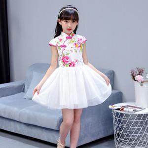 2018 Summer Girl Children Cheongsam Vestido Tradicional Chinesa Qipao vestido de manga curta Garota Cotton Skirt Crianças Cheongsam