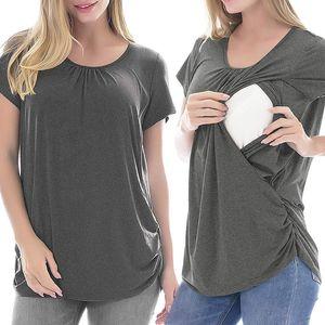 Fashion Maternity Clothes Solid Color Breastfeeding Women Shirt Fashion Pregnant Tops Maternity Casual Soft Clothes Enfermeria Hamile