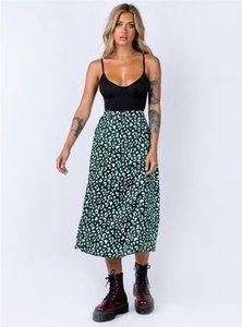 2020 Womens Designer Röcke Leopard Chiffon Printed Split Rock-reizvolle hohe Taille Reißverschluss Medium langer Rock