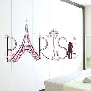 Inicio etiqueta de la pared del amor romántico para París Torre Eiffel rosa la flor de mariposa Calcomanías