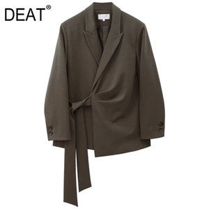 [DEAT] Women Bandage Pleated Temperament Blazer New Lapel Long Sleeve Loose Fit Jacket Fashion Tide Spring Autumn 2020 13S175
