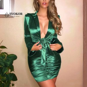 SVOKOR Lace Up Turn-down Collar Dress Women Long Sleeve Bodycon Dress Sexy Mini Party Nights Clothes Women Satin