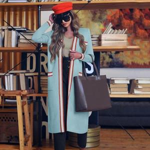 Пальто шанца женщин Весна Элегантный ретро Полосатый Snordic Длинные Сыпучие Кардиган Coat Кабан Ropa Mujer Куртка манто Casaco Giacca