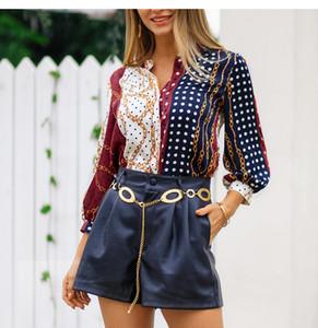 여성 셔츠 도트 체인 인쇄 2019 봄 여름 캐주얼 블라우스 긴 소매 V 넥 블라우스 불규칙한 탑 여성 셔츠 전체 판매