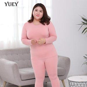 Outono inverno novo tamanho grande mulheres quentes roupas terno quente calças de seda de leite de mangas compridas Conjuntos de roupa interior térmica fina em torno do pescoço