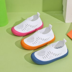 Children sneakers kids girls casual sports shoes flying woven breathable mesh shoes boys white knitted hollow fashion