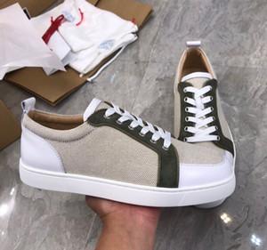 New alta qualidade das mulheres dos homens Rantulow sapatilhas de linho de couro de luxo inferior Fashion Party Red par sapatos vestido com caixa, EU35-47