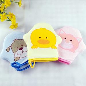 Bath Luva dos desenhos animados Super Macio algodão Baby Bath Shower escova Luva bonito animal Padrão Crianças Sponge Esfregar Bola de toalha
