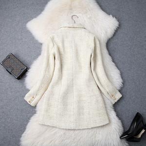 Wholesale- Frauen zweireihiger Metallknopf Langarm Reverskragen Jacken-Wolle-Mischungen Tweed-Blazer-Mantel