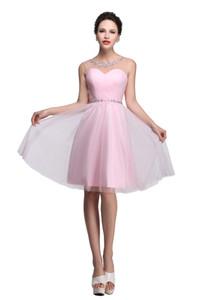 2019 Grade Party Kleider Pink Short Prom Kleider Günstige A-Line Mini Tüll Perlen Sleeveless Jewe Abschlusskleider