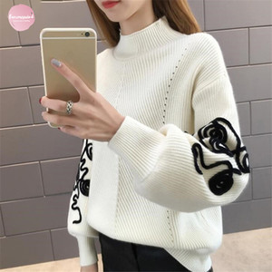 Pull col roulé femme coréenne Pull Femme Pull Crochet Hiver manches bouffantes Pull suéter Mujer Pull-overs tricotés 36816