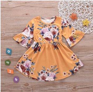 2020 new children Spring Summer Girl Printed Vintage floral dresses Kids Princess flower dress children retail clothes