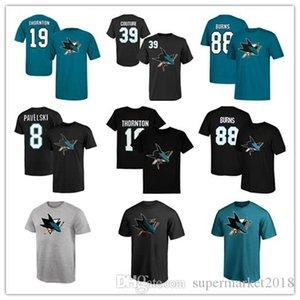 # 88 Brent Burns # 19- Thornton Homens San Jose Sharks Hockey Jerseys # 39 Couture preto de algodão Fãs Tops manga curta Tee verão Impresso