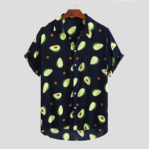 Summer Men's Short Sleeve Shirts Avocado Loose Casual Printed Shirt Camisa Masculina Male Cotton Beach Hawaiian Shirts FM037 T200628