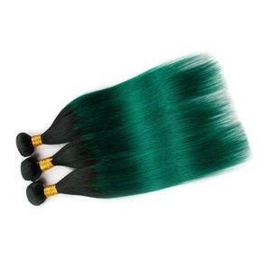 """# 1B / Yeşil Ombre Koyu Yeşil Ombre Bakire İnsan Saç atkıların Uzantıları 10-30"""" Straight Perulu İnsan Saç Dokuma Paketler Siyah Kökler"""