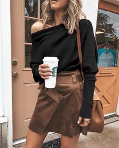 Femmes Designer Casual Solide Couleur T-shirt à manches longues manches chauve-souris Décolleté Mode Famale Vêtements printemps
