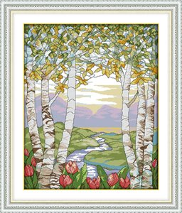 Birches in the summer scenery decor paintings ,Handmade Cross Stitch Embroidery Needlework sets counted print on canvas DMC 14CT  11CT