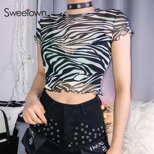 Listrado animal da cópia da zebra T Shirt Sexy Transparente malha Verão Tops For Women bonito Harajuku Kawaii