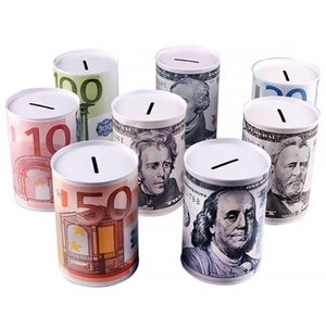 Euro Dólar Piggy Bank Money Box Seguro Cilindro Piggy Bank Bancos para moedas Depósito caixas de armazenamento Decoração frete grátis