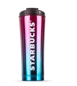 2019 Starbucks folding straw cup high-grade 304 double-layer vacuum stainless steel Starbucks coffee cup gradient milk cup mug