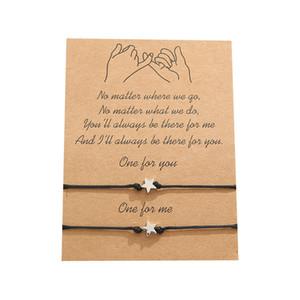 Estrela de cinco pontas Pulseira com cartão do presente pulseira casal com cartões de moda jóias presente para o amor amigo