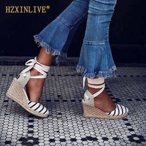 2019 Yaz Platform Wedges Sandalet Kadınlar Tuval Espadrilles Sandalet Bilek Kayışı Yüksek Topuklar Gladyatör Sandalet INSTA Ayakkabı Kadın LY191129