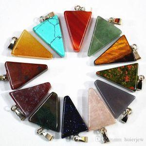 onyx naturel mode quartz pierre pendentifs breloques triangle flèche pour la fabrication de collier