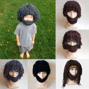 pudcoco Yeni Gelenler Sıcak Bebek yenidoğan Bebek Dread Kilit Örme Erkekler Sakal Peruk Crochet Bıyık Yüz Şapka Kış Cap