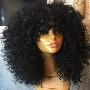 9A parrucca di capelli umani full bangs 180% densità precipitata riccia parrucche vergini brasiliane in pizzo vergine per le donne nere con i capelli del bambino