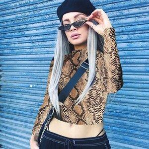 Tops de la piel de las mujeres de cuello alto flaco impresión de la serpiente camiseta de Cultivos Top High Street elegante moda jersey
