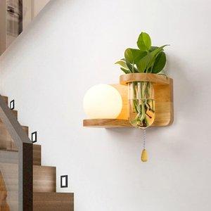 nordic art deco wood Shelf glass ball wall lamp creative bedroom nightstand lamps Corridor balcony decorative led light fixture