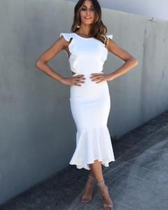 Тонкий Ruffles рукавов Fishtail платье лета женщин Новый Backless Bodycon сексуальное платье Женский Повседневный Red White Party Club Dress