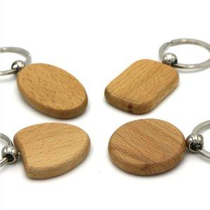set Rettangolare Rotonda Key Chain di legno in bianco fai da te su misura Promozione Legno vendita 20pcs / Keychains Tag chiave