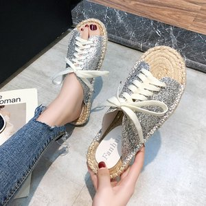 wear slippers female spring summer 2020 new joker chic sandals women flat shoes, leisure shoes with straw fishermen