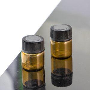 1 ml Bernstein Glas-wesentliche Öl-Flasche für Probenlagerung Parfüm Mini-leeren kosmetischen Tropfer 2000Pcs Kostenlosen Versand