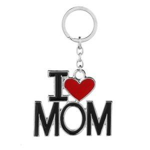 Catene Lettera Cuore rosso di amore chiave Gioielli Anelli i love dad MOM MAMA PAPA keychain di modo per il padre la madre regalo Drop Shipping LXL910-1