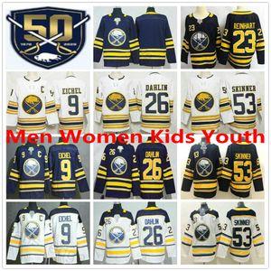 Uomini Donna Bambini Buffalo Sabres d'oro 50 ° Stagione Terzo Hockey su ghiaccio pullover # 9 Jack Eichel 53 Jeff Skinner 26 Rasmus Dahlin 23 Sam Reinhart
