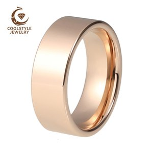 Men Women Tungsten 8MM Wedding Band Flat Plain Band With Shiny Polished And Comfort fit SH190927