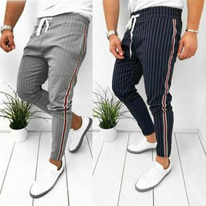 Мужская Саржа Jogger брюки городской хип-хоп гарем повседневные брюки боковая полосатая резинка Slim Fit брюки мужские модные брюки