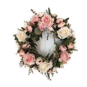 Couronne de fleurs artificielles Pivoine Couronne printemps ronde pour la fête porte avant mariage Décoration d'intérieur Fleurs artificielles Artisanat
