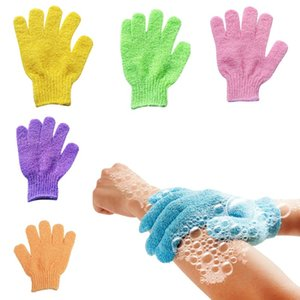 التقشير قفازات قفاز الاستحمام قفازات فرك أصابع منشفة حمام تقشير ميت فرك الجسم القفاز اكسسوارات الحمام BWA729