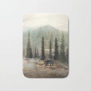 SICAK Banyo Kilimler Dağ Black Bear Bath Mat Fanila Emici Kaymaz Paspas Giriş Kapısı Banyo Odası Minderleri