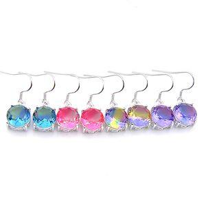 Luckyshine 4 paires pour les femmes Bijoux New Round Watermelon Tourmaline pierres précieuses argent Dangle crochet boucles d'oreilles